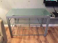 Glass and metal side table/tv stand