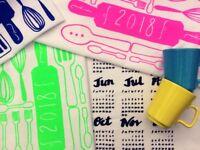 Screen printing workshop - 2018 calendar tea towels