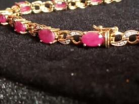 9ct gold ruby and diamond tennis bracelet
