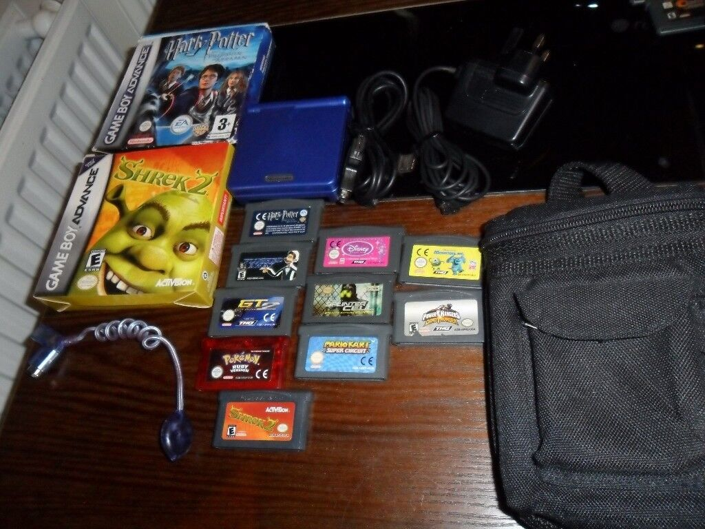 Blue Nintendo Gameboy SP Console With Games Pokemon