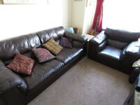 Three seater leather sofa and armchair, very good condition