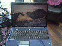 """BLUE HP PRASIRO A900 WINDOWS 7. 17"""" WIDESCREEN CLEAN 160 HHD 2GIG RAM GOOD BATTERY & CHARGER"""