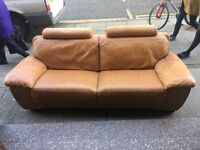 Very Comfy Tan leather 3 Seater Sofa for Sale