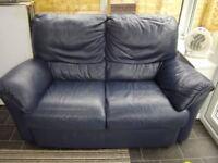 Natuzzi Navy Blue Leather 2 x 2 seater matching sofas