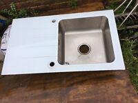 Glass top kitchen sink