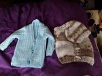 Hand knitted cardigans and hat