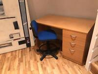 Office desk and chair.