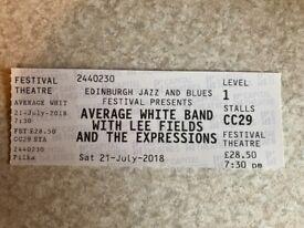 Single Ticket for Average White Band Concert Festival Theatre Edinburgh Saturday 21 July 7.30pm