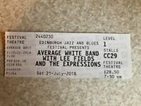 Single Ticket for Average White Band Concert Festival Theatre Edinburgh Saturday 21 July 7.30pm