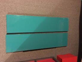 IKEA floating shelves x2 turquoise/aqua
