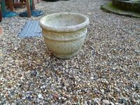 VINTAGE WEATHERED HEAVY STONE POT/PLANTER