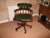 Captains chair, green leather