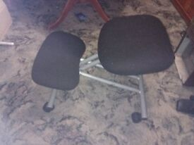 Posture Control Kneeling stool with casters and metal frame and fabric soft cushions new condition.