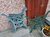 3 sets of cast iron bench ends