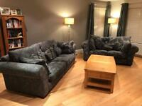 Lounge Suite. 3 seater, 2 seater and chair plus option of storage footstool