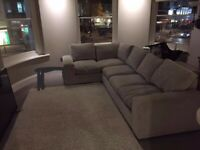 BEAUTIFUL CONDITION, BARELY USED, STONE GREY L SHAPED SOFA