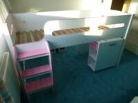 Child's Girl's cabin bed Julian Bowen Kimbo white/pink with desk