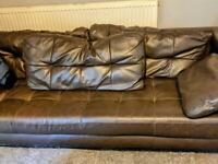 Brown three seater sofa Italian leather