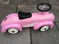 Pink retro ride along car