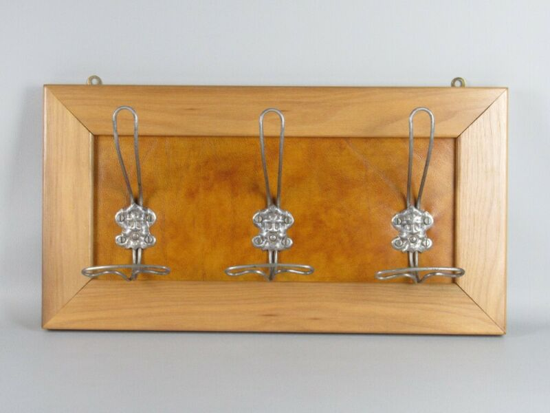 Panel Hanger With 3 Antique Hooks Iron & Frame Wood Xx Century