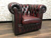 Oxblood Red Leather Chesterfield Buttoned Club Armchair