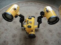 SCUBA WATERPROOF DIVING FLOODLIGHTS AND CAMERA CASE EXCELLENT CONDITION