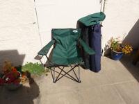 4 folding picnic chairs, 2 blue 2 green