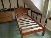 2 single oak framed beds