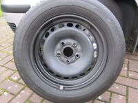 Four Volkswagen steel wheels 195 / 65 R15 genuine part, excellent condition and no kerbing damage.