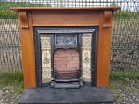 127 Cast Iron Fireplace Surround Fire Wood Tiled Insert Antique Victorian Style