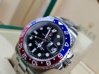 New boxed with papers set silver bracelet black face red blue bezel Rolex GMT Master II with auto