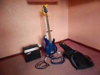Aria Bass Guitar & Strap - 35 Watt Amp - Guitar Stand - Leads - Ritter Guitar Bag & Tuition Book.