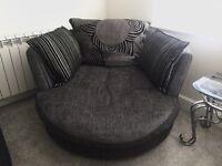 Charcoal grey DFS cuddle chair