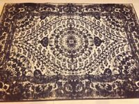Navy antique effect rug