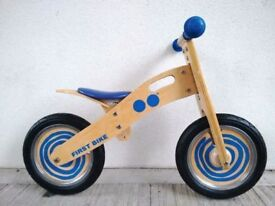 "(2734) 12"" JOHN CRANE TIDLO WOODEN BALANCE BIKE Blue Boys Girls Kids Age: 3-5 Height: 90-110 cm"