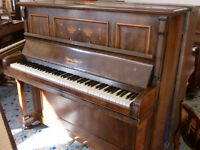 WHITES INLAID UPRIGHT PIANO ART NUVO TUNED £120 CAN DELIVER STOOL £40 VERTICUAL STRUNG