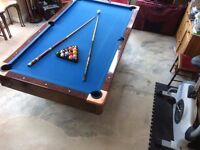 American style walnut veneered slate pool table with cover all the bits and hydraulic trolley