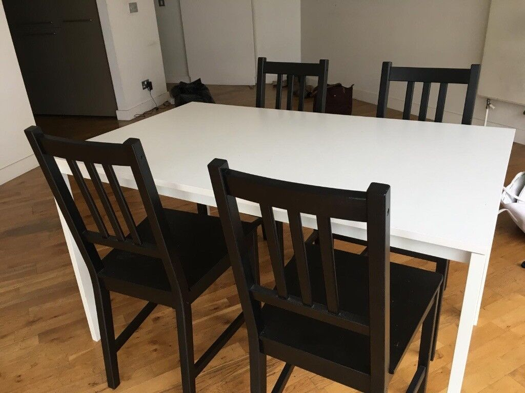 4 Seater IKEA Dining Table White With Set Of Black Wooden Chairs