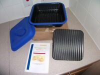 Large Microwave Grill Pan with Press and a Steamer Lid