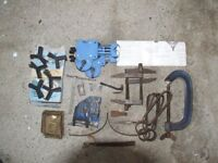 An assortment of cramps and clamps