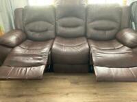 3+1 brown sofa recliner