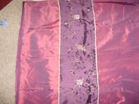 Curtains, matching double size duvet cover and 2 pillowcases set, beautiful colour and silky fabric