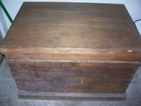 Wooden Handmade Carpenters Tool Chest - 50+ years old -internal trays