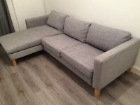 IKEA KARLSTAD Isunda grey sofa with chaise lounge