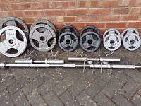 OLYMPIC WEIGHTS SET WITH 7FT BAR & DUMBBELLS