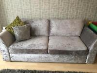 2 & 3 crushed velvet silver sofas