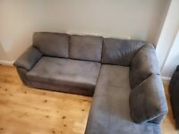 Great condition sofa set consisting of a large corner sofa, foot stool and single arm chair.