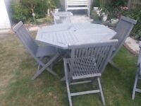 GARDEN WOODEN PATIO SET WITH 4 CHAIRS