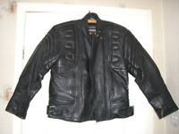 Rhino Motorcycle/Motorbike Black Leather Jacket Size 12 EU 42