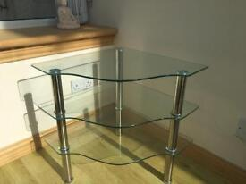 3 tier glass corner table / tv stand